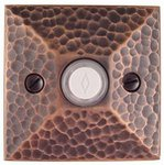 Emtek 2452 Brass Doorbell Button with Hammered Rosette
