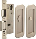 Omnia 7039/L Privacy Pocket Door Lock with Traditional Trim featuring Turnpiece and Emergency Release