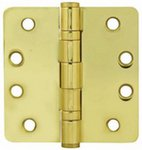Emtek 94024 4 Inch x 4 Inch Heavy Duty Ball Bearing Steel Plated Hinge with 1/4 Inch Radius Corners (Sold in Pairs)